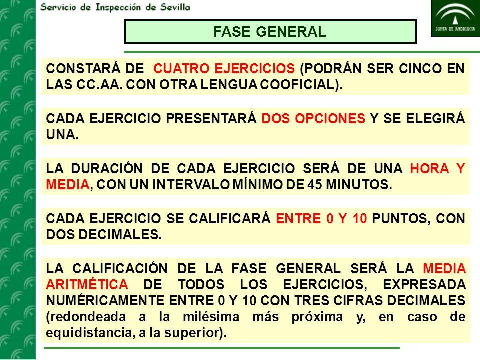 FASE GENERAL CONSTARÁ DE CUATRO EJERCICIOS (PODRÁN SER CINCO EN LAS CC.AA. CON OTRA LENGUA COOFICIAL). CADA EJERCICIO PRESENTARÁ DOS OPCIONES Y SE ELE
