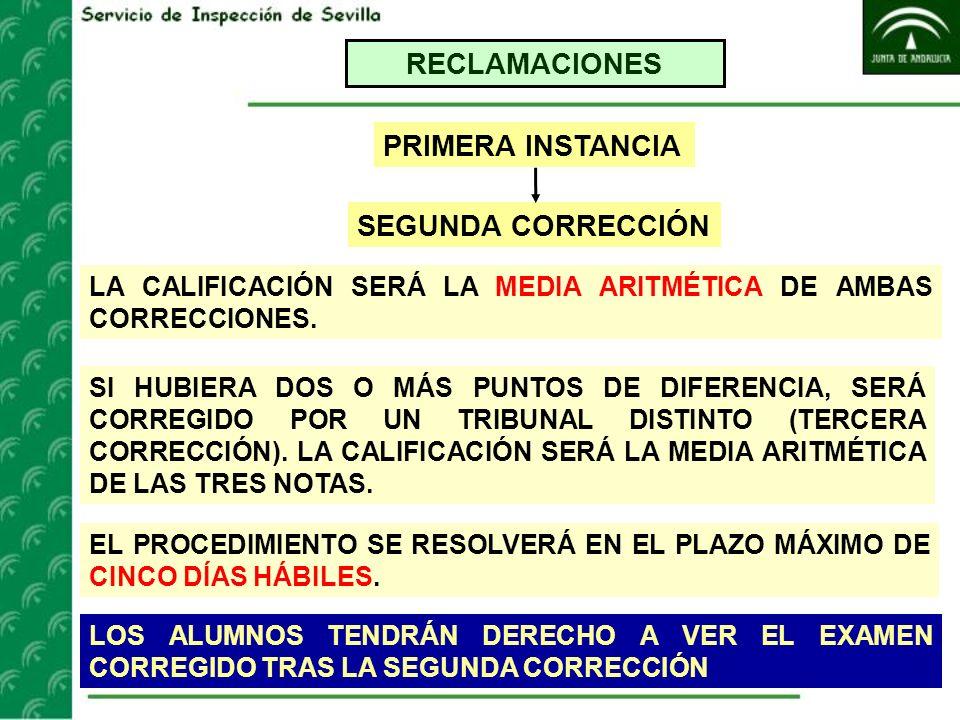 RECLAMACIONES SEGUNDA CORRECCIÓN PRIMERA INSTANCIA LA CALIFICACIÓN SERÁ LA MEDIA ARITMÉTICA DE AMBAS CORRECCIONES. SI HUBIERA DOS O MÁS PUNTOS DE DIFE