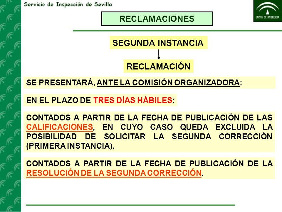 RECLAMACIONES RECLAMACIÓN SEGUNDA INSTANCIA SE PRESENTARÁ, ANTE LA COMISIÓN ORGANIZADORA: CONTADOS A PARTIR DE LA FECHA DE PUBLICACIÓN DE LAS CALIFICA