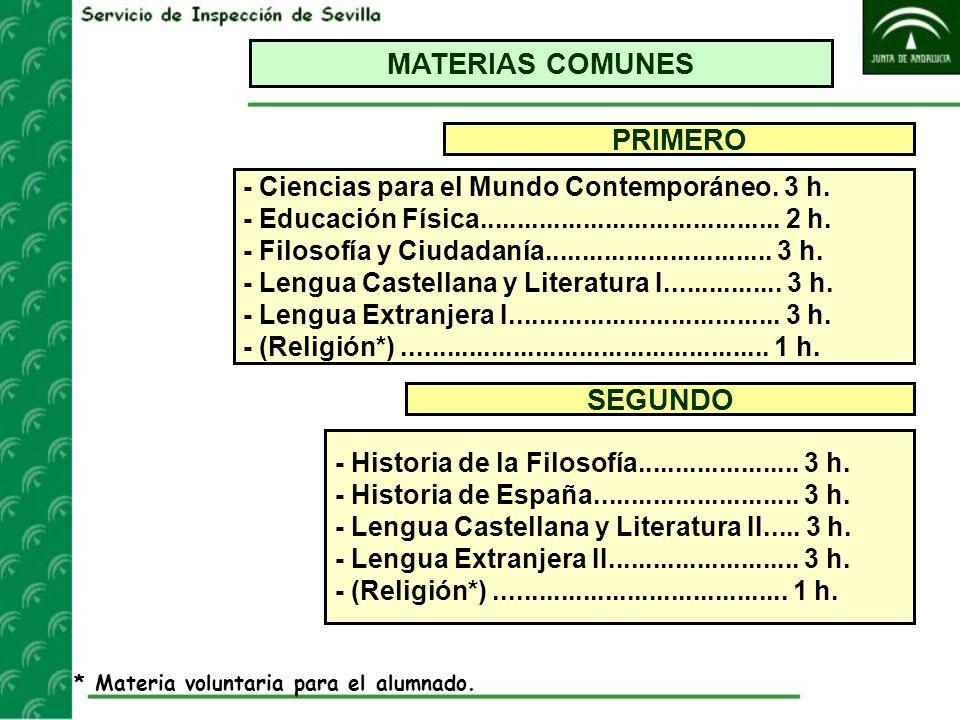 MATERIAS COMUNES PRIMERO SEGUNDO - Ciencias para el Mundo Contemporáneo. 3 h. - Educación Física......................................... 2 h. - Filos