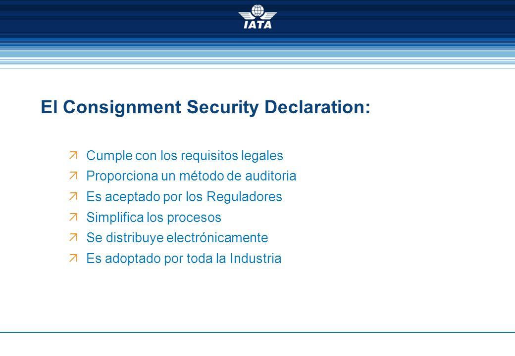 El Consignment Security Declaration: Cumple con los requisitos legales Proporciona un método de auditoria Es aceptado por los Reguladores Simplifica l