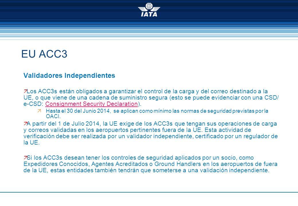 EU ACC3 Validadores Independientes Los ACC3s están obligados a garantizar el control de la carga y del correo destinado a la UE, o que viene de una ca