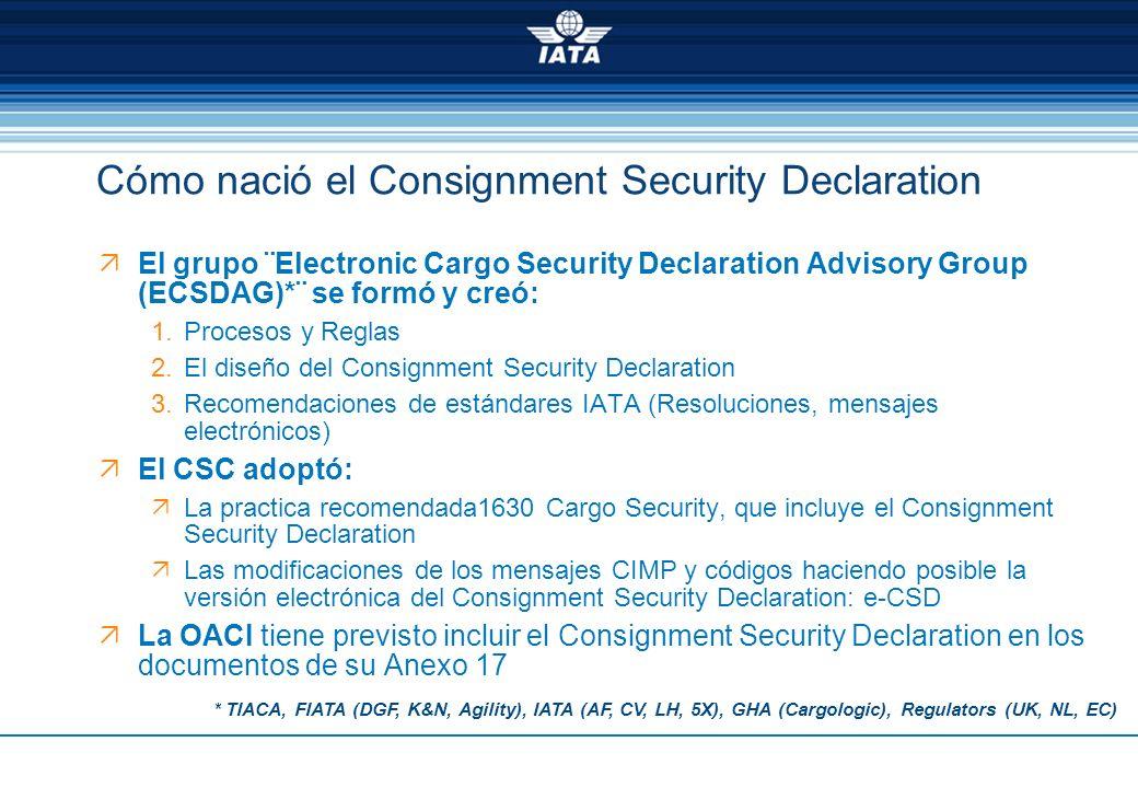 El grupo ¨Electronic Cargo Security Declaration Advisory Group (ECSDAG)*¨ se formó y creó: 1.Procesos y Reglas 2.El diseño del Consignment Security De