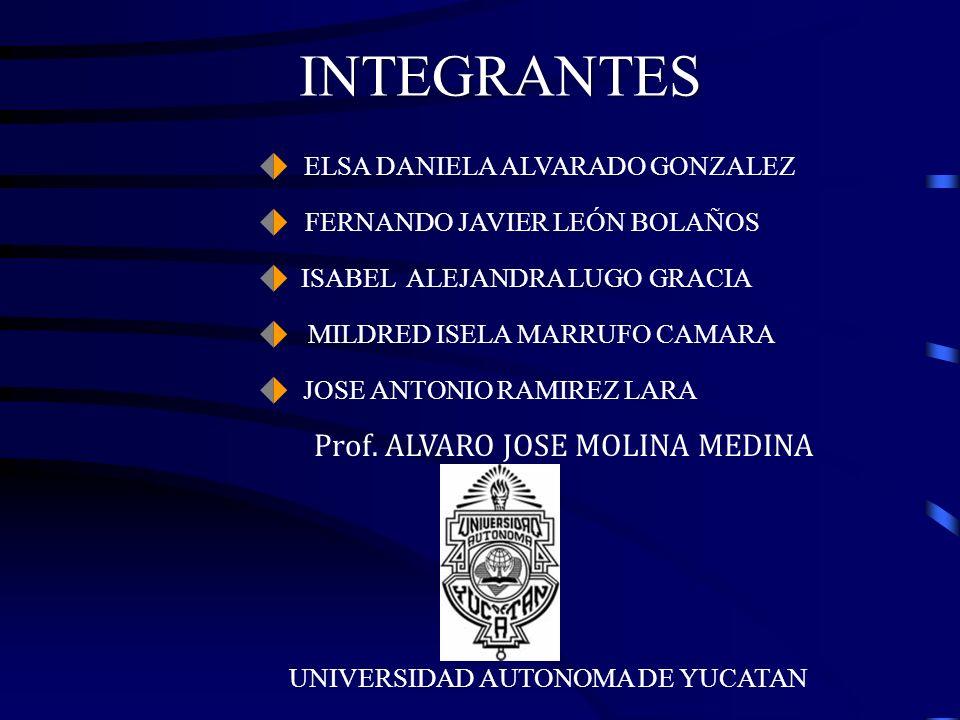 INTEGRANTES ELSA DANIELA ALVARADO GONZALEZ FERNANDO JAVIER LEÓN BOLAÑOS ISABEL ALEJANDRA LUGO GRACIA MILDRED ISELA MARRUFO CAMARA JOSE ANTONIO RAMIREZ