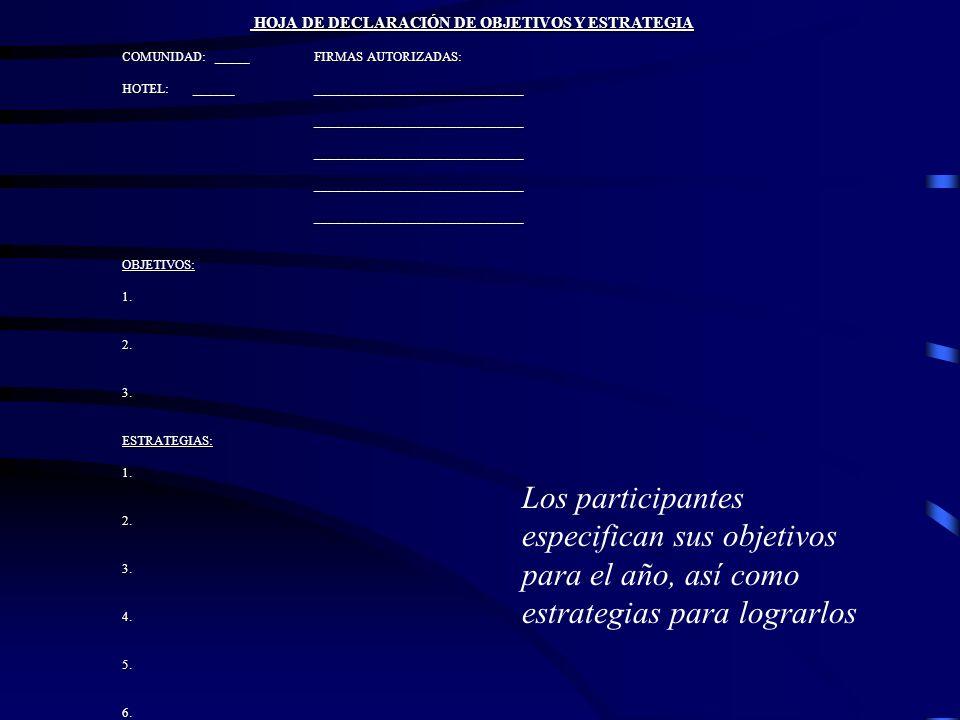 HOJA DE DECLARACIÓN DE OBJETIVOS Y ESTRATEGIA HOJA DE DECLARACIÓN DE OBJETIVOS Y ESTRATEGIA COMUNIDAD: _____ FIRMAS AUTORIZADAS: HOTEL: ______ _______