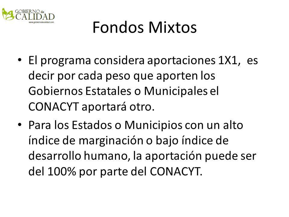 Fondos Mixtos El programa considera aportaciones 1X1, es decir por cada peso que aporten los Gobiernos Estatales o Municipales el CONACYT aportará otr