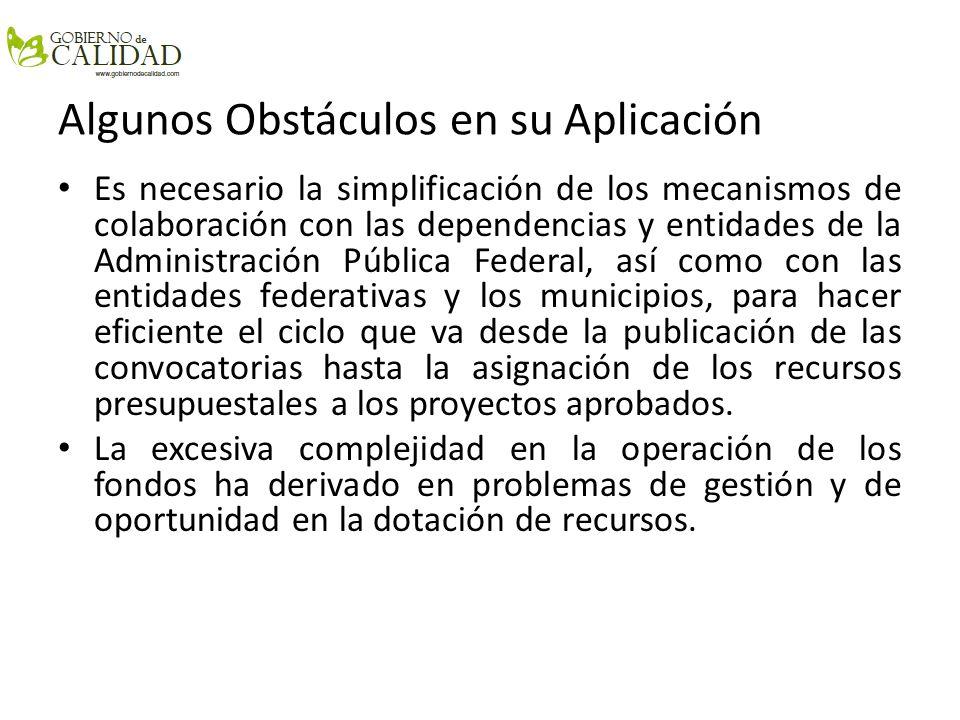 Algunos Obstáculos en su Aplicación Es necesario la simplificación de los mecanismos de colaboración con las dependencias y entidades de la Administra