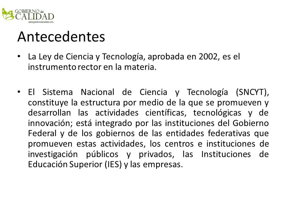 Antecedentes La Ley de Ciencia y Tecnología, aprobada en 2002, es el instrumento rector en la materia. El Sistema Nacional de Ciencia y Tecnología (SN