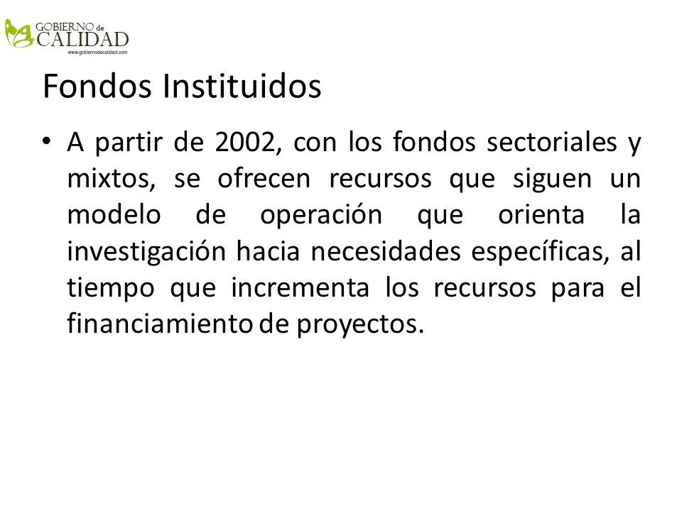 Fondos Instituidos A partir de 2002, con los fondos sectoriales y mixtos, se ofrecen recursos que siguen un modelo de operación que orienta la investi