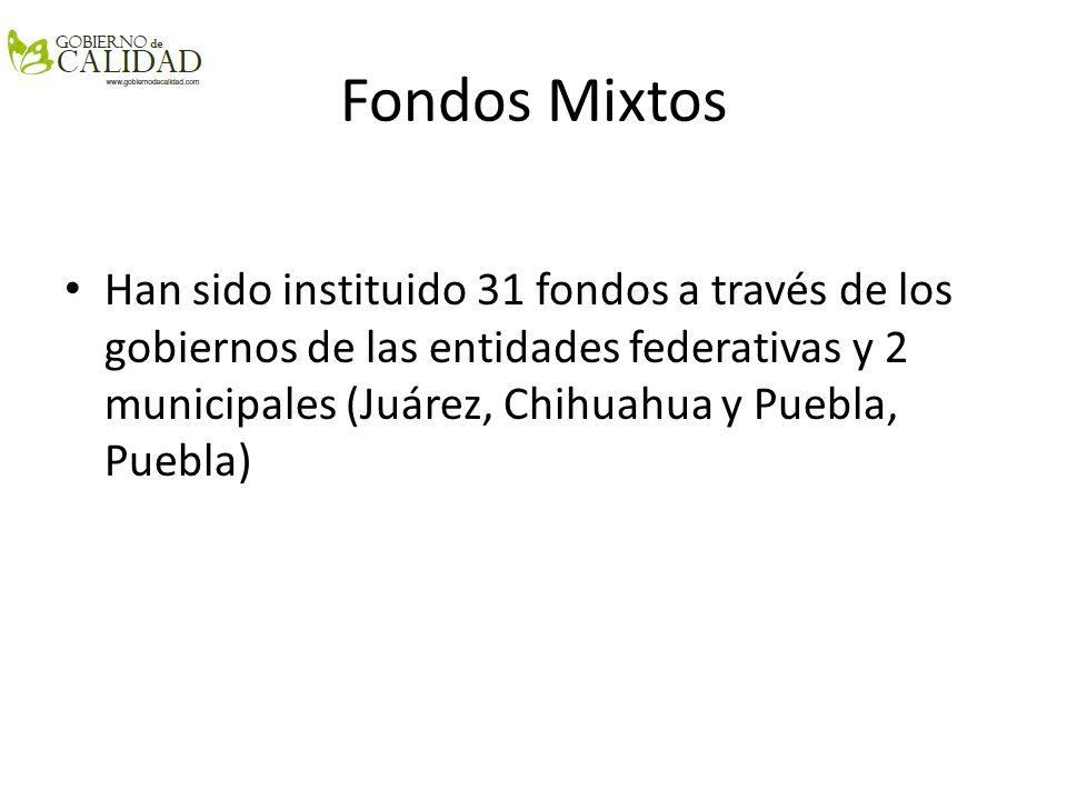 Fondos Mixtos Han sido instituido 31 fondos a través de los gobiernos de las entidades federativas y 2 municipales (Juárez, Chihuahua y Puebla, Puebla