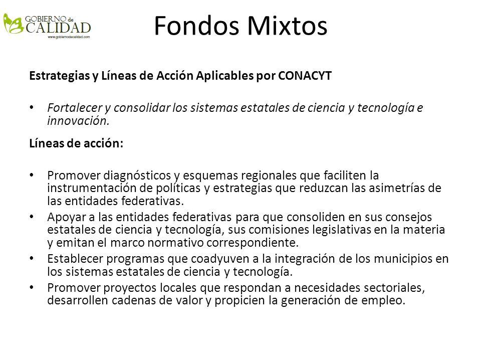 Fondos Mixtos El programa considera aportaciones 1X1, es decir por cada peso que aporten los Gobiernos Estatales o Municipales el CONACYT aportará otro.