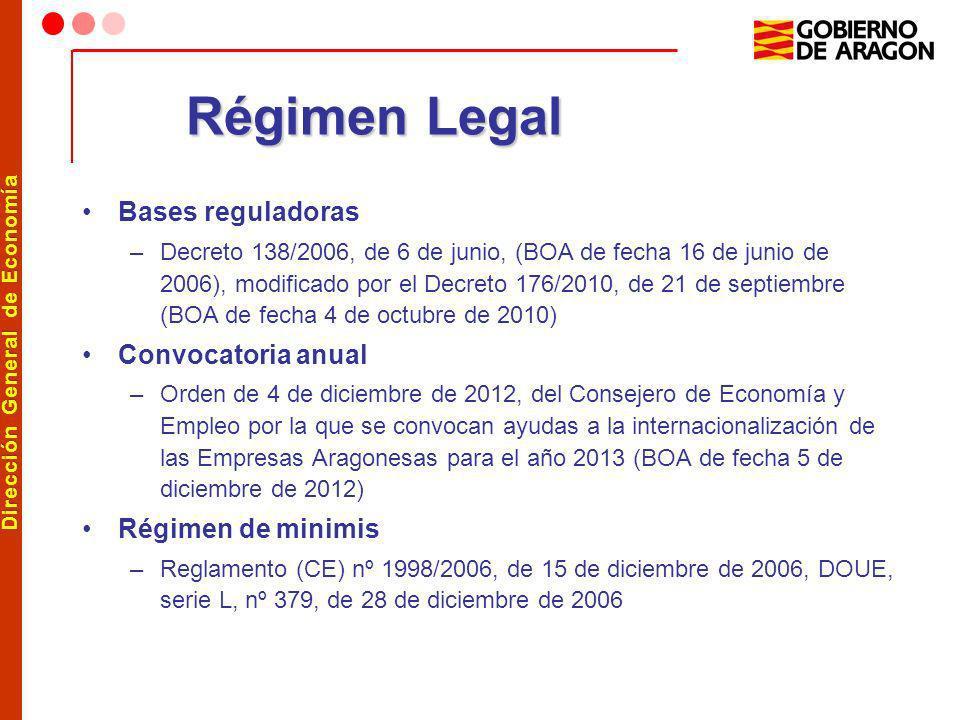 Dirección General de Economía Régimen Legal Bases reguladoras –Decreto 138/2006, de 6 de junio, (BOA de fecha 16 de junio de 2006), modificado por el