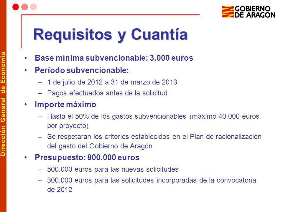 Dirección General de Economía Requisitos y Cuantía Base mínima subvencionable: 3.000 euros Período subvencionable: –1 de julio de 2012 a 31 de marzo d