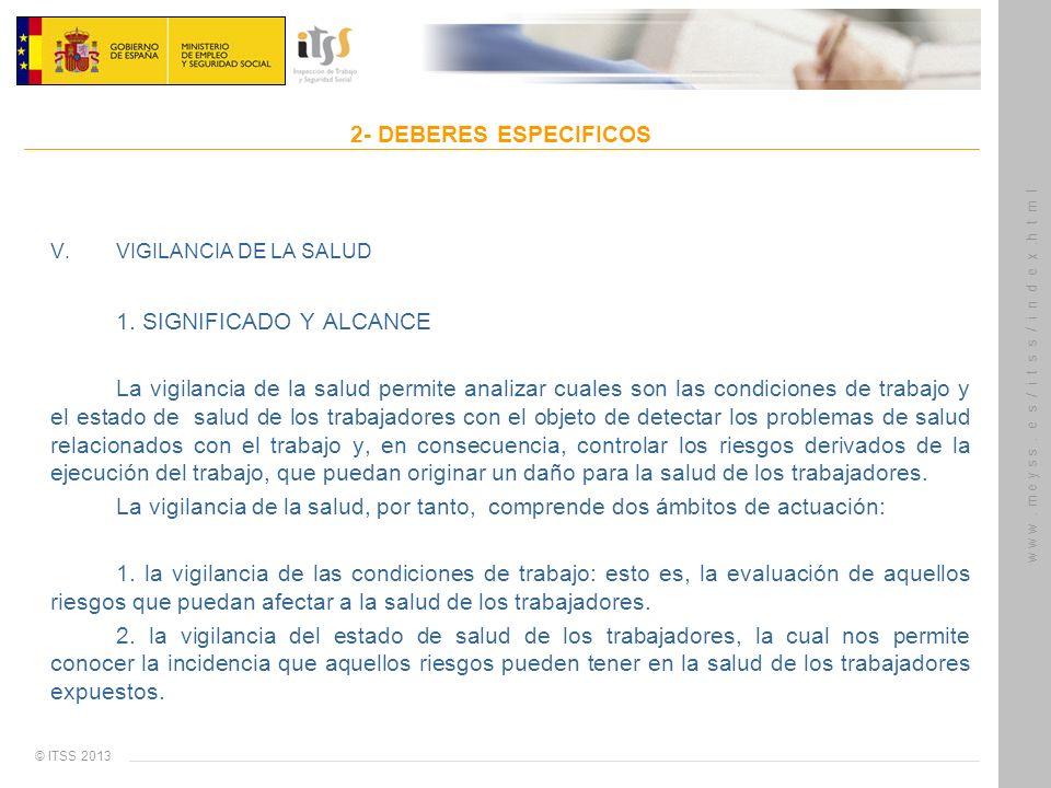 © ITSS 2013 w w w. m e y s s. e s / i t s s / i n d e x.h t m l 2- DEBERES ESPECIFICOS V. VIGILANCIA DE LA SALUD 1. SIGNIFICADO Y ALCANCE La vigilanci