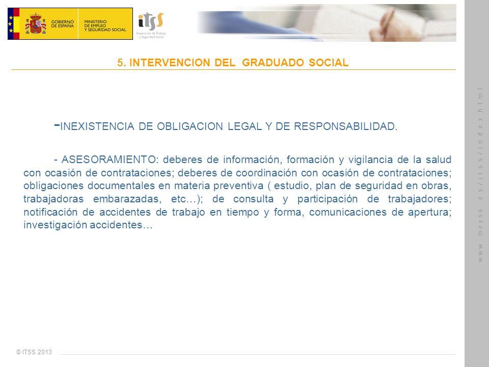 © ITSS 2013 w w w. m e y s s. e s / i t s s / i n d e x.h t m l 5. INTERVENCION DEL GRADUADO SOCIAL - INEXISTENCIA DE OBLIGACION LEGAL Y DE RESPONSABI