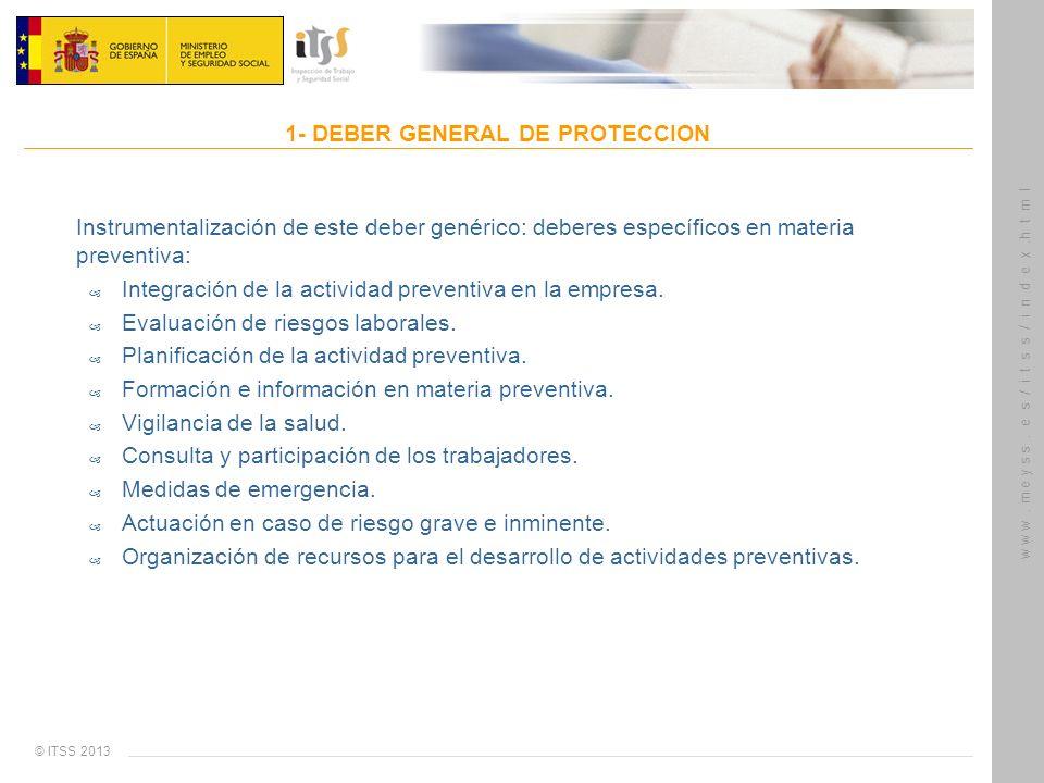 © ITSS 2013 w w w. m e y s s. e s / i t s s / i n d e x.h t m l 1- DEBER GENERAL DE PROTECCION Instrumentalización de este deber genérico: deberes esp