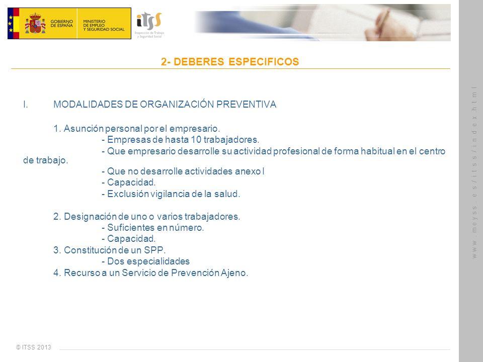 © ITSS 2013 w w w. m e y s s. e s / i t s s / i n d e x.h t m l 2- DEBERES ESPECIFICOS I. MODALIDADES DE ORGANIZACIÓN PREVENTIVA 1. Asunción personal