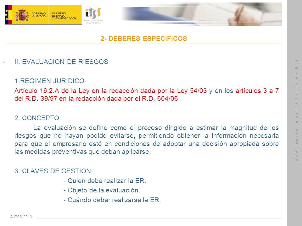 © ITSS 2013 w w w. m e y s s. e s / i t s s / i n d e x.h t m l 2- DEBERES ESPECIFICOS II. EVALUACION DE RIESGOS 1.REGIMEN JURIDICO Artículo 16.2.A de