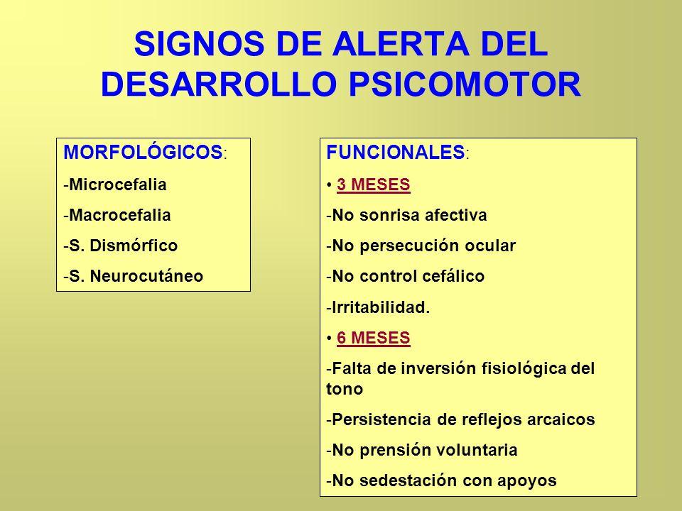 SIGNOS DE ALERTA DEL DESARROLLO PSICOMOTOR MORFOLÓGICOS : -Microcefalia -Macrocefalia -S. Dismórfico -S. Neurocutáneo FUNCIONALES : 3 MESES -No sonris