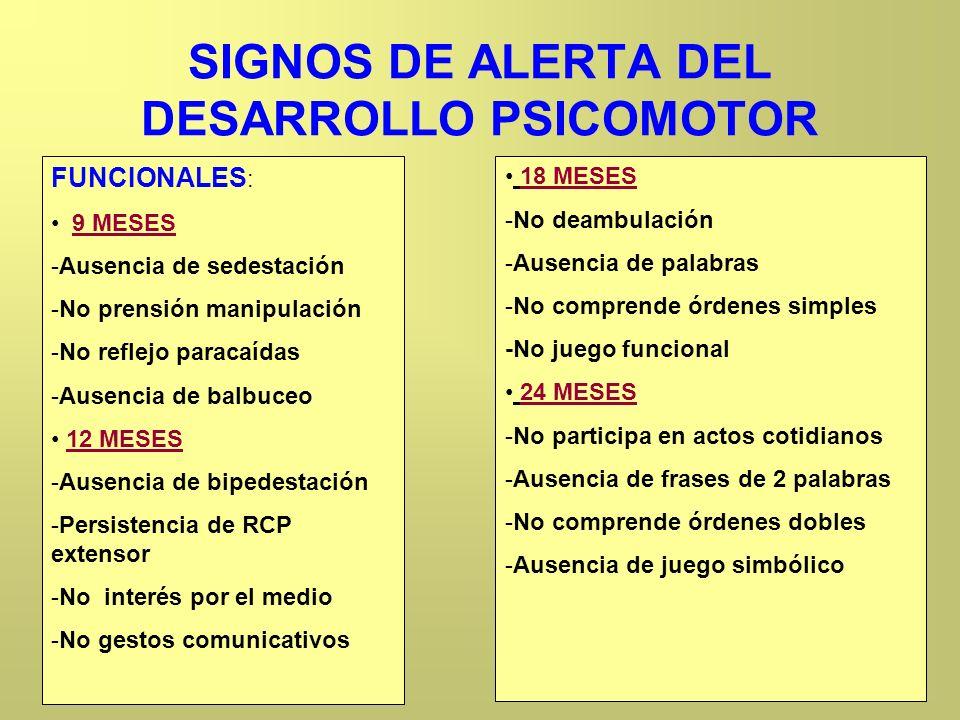 SIGNOS DE ALERTA DEL DESARROLLO PSICOMOTOR FUNCIONALES : 9 MESES -Ausencia de sedestación -No prensión manipulación -No reflejo paracaídas -Ausencia d