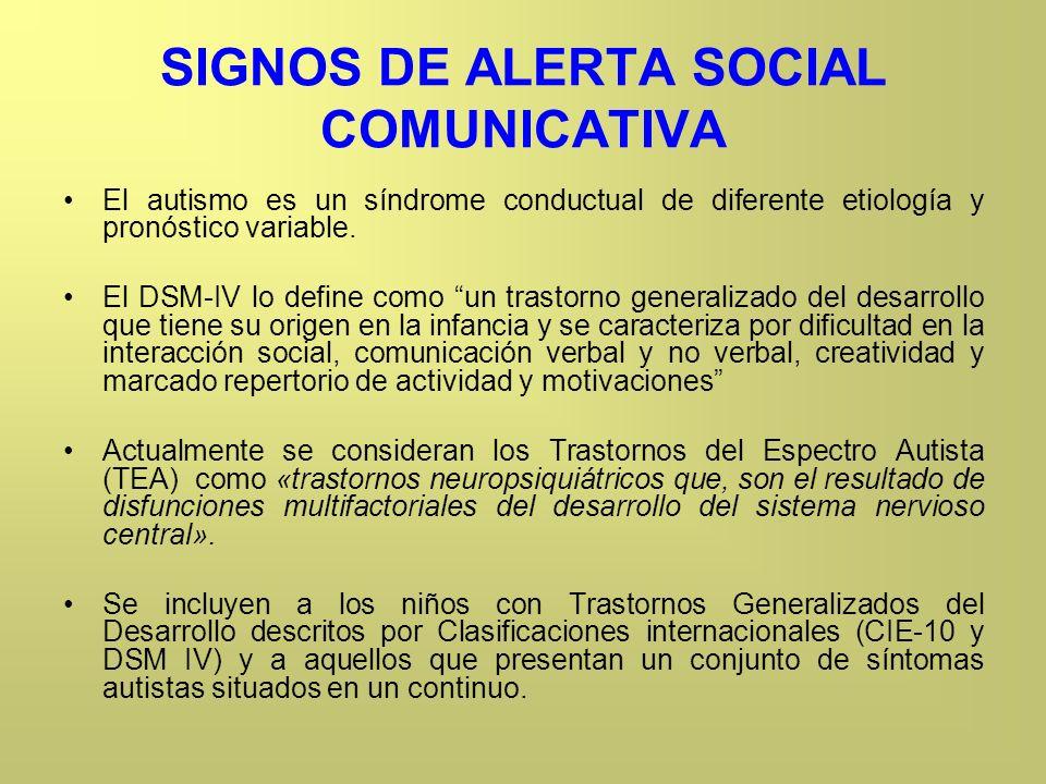 SIGNOS DE ALERTA SOCIAL COMUNICATIVA El autismo es un síndrome conductual de diferente etiología y pronóstico variable. El DSM-IV lo define como un tr