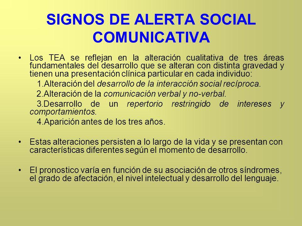 SIGNOS DE ALERTA SOCIAL COMUNICATIVA Los TEA se reflejan en la alteración cualitativa de tres áreas fundamentales del desarrollo que se alteran con di