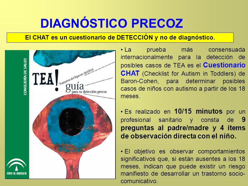DIAGNÓSTICO PRECOZ La prueba más consensuada internacionalmente para la detección de posibles casos de TEA es el Cuestionario CHAT (Checklist for Auti
