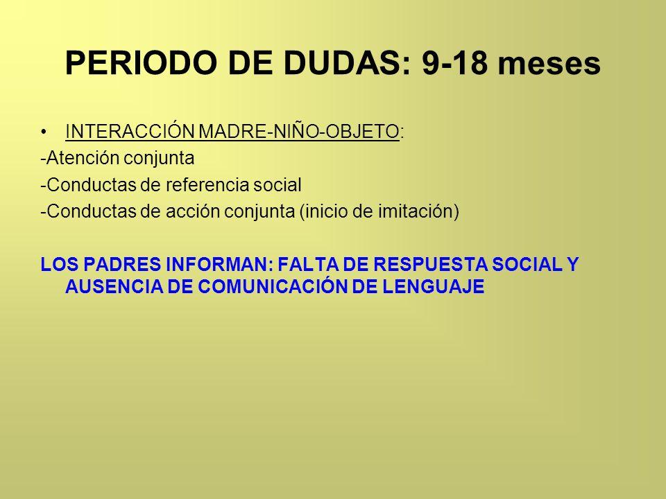 PERIODO DE DUDAS: 9-18 meses INTERACCIÓN MADRE-NIÑO-OBJETO: -Atención conjunta -Conductas de referencia social -Conductas de acción conjunta (inicio d