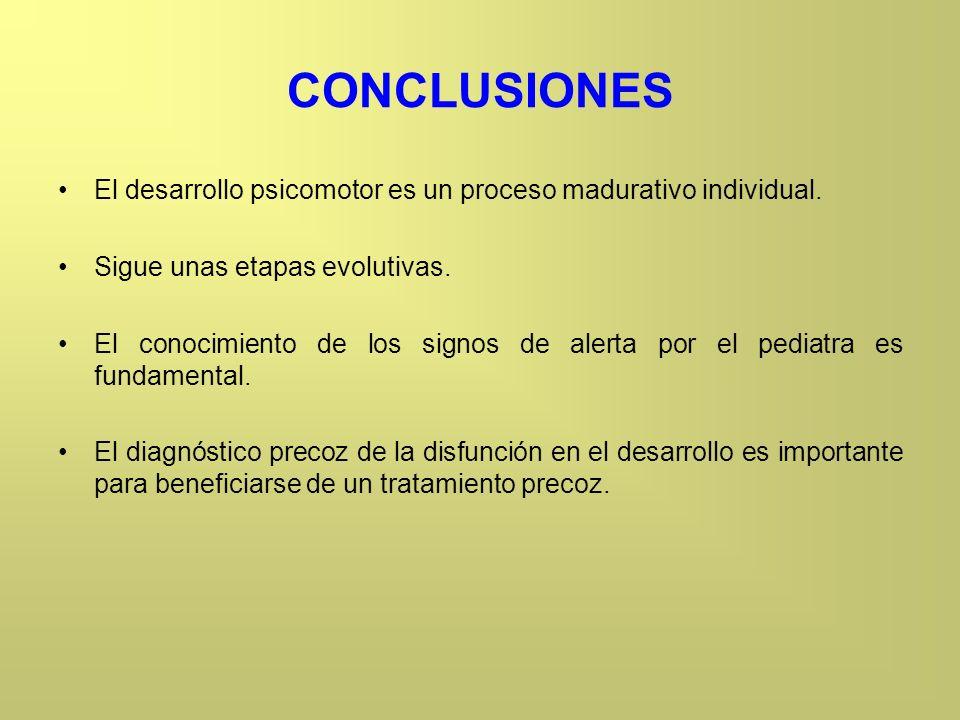 CONCLUSIONES El desarrollo psicomotor es un proceso madurativo individual. Sigue unas etapas evolutivas. El conocimiento de los signos de alerta por e