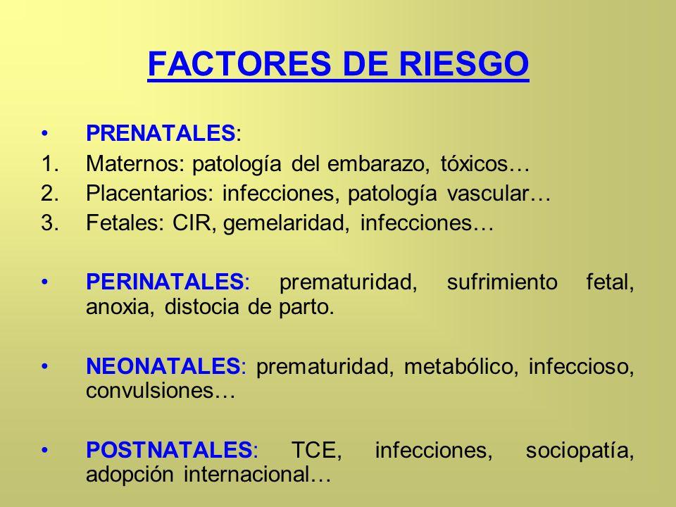 FACTORES DE RIESGO PRENATALES: 1.Maternos: patología del embarazo, tóxicos… 2.Placentarios: infecciones, patología vascular… 3.Fetales: CIR, gemelarid