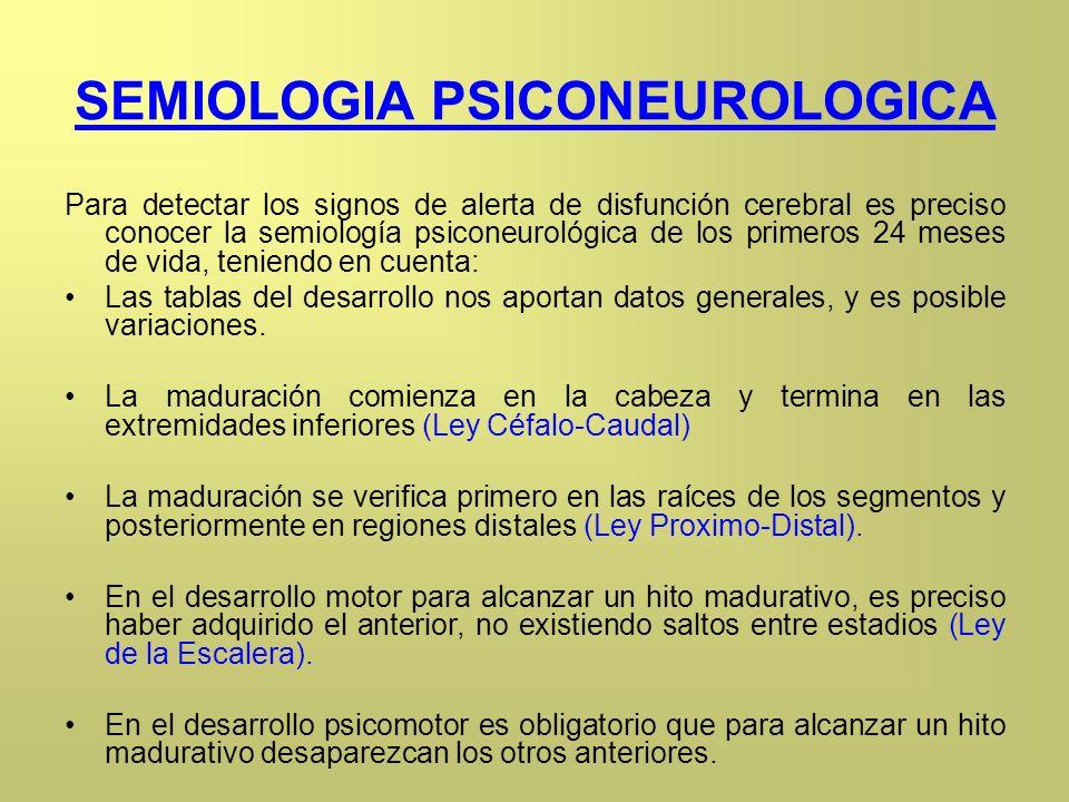 SEMIOLOGIA PSICONEUROLOGICA Para detectar los signos de alerta de disfunción cerebral es preciso conocer la semiología psiconeurológica de los primero