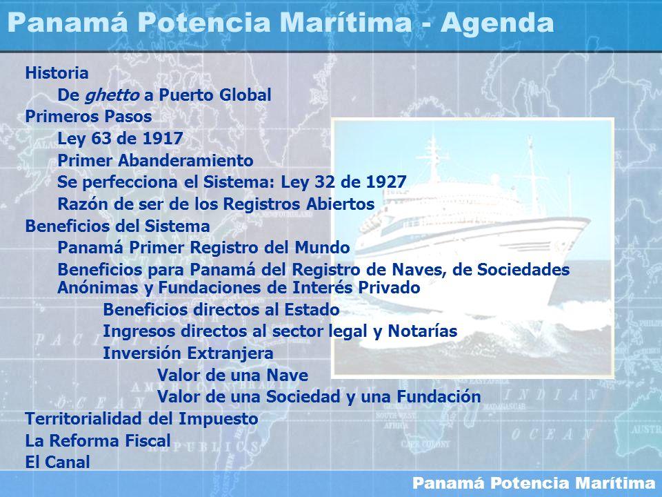 Panamá Potencia Marítima Pago Promedio de Registro de una Nave $13,100 Naves Registradas (Año 2004) 1,193 Ingreso Generado a la Economía Nacional $15,628,300 Tasa de Retorno Fondo Fiduciario (año terminado al 30 Septiembre de 2004)4.57% Este ingreso equivale a un Capital de $341,975,930 Naves como inversión extranjera
