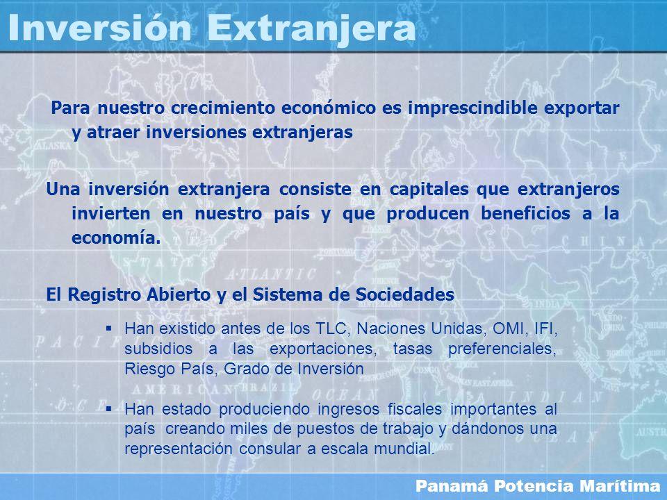 Panamá Potencia Marítima Inversión Extranjera Han existido antes de los TLC, Naciones Unidas, OMI, IFI, subsidios a las exportaciones, tasas preferenc