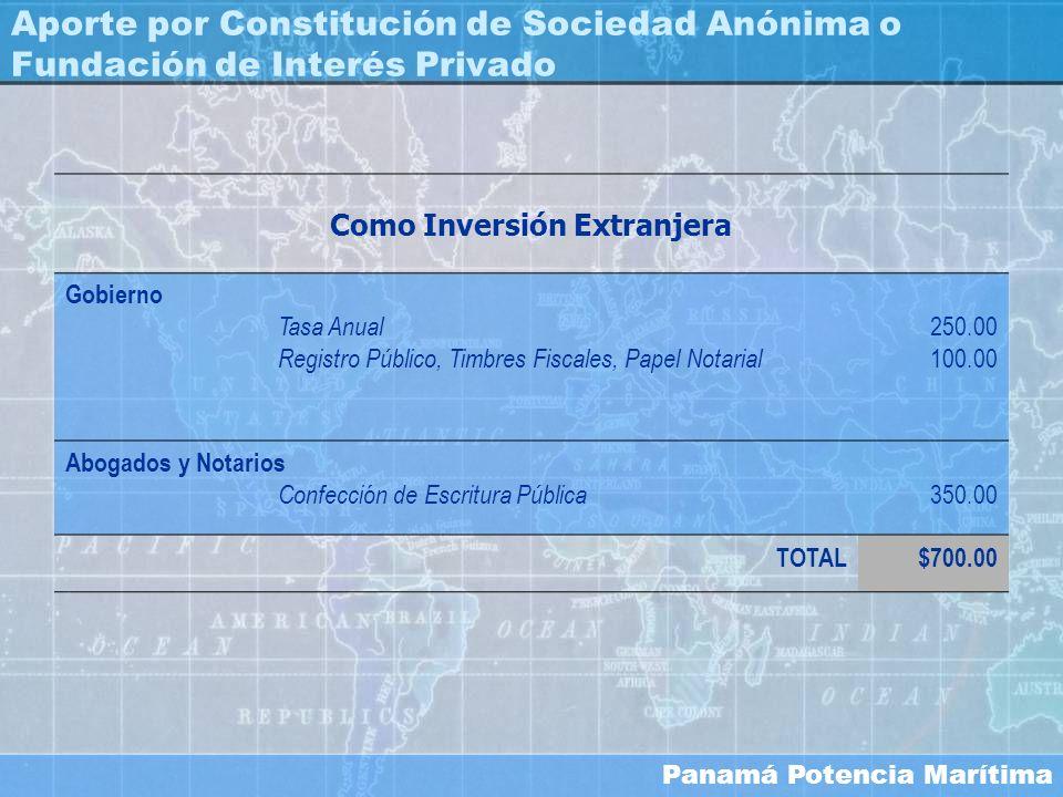 Panamá Potencia Marítima Aporte por Constitución de Sociedad Anónima o Fundación de Interés Privado Como Inversión Extranjera Gobierno Tasa Anual Regi