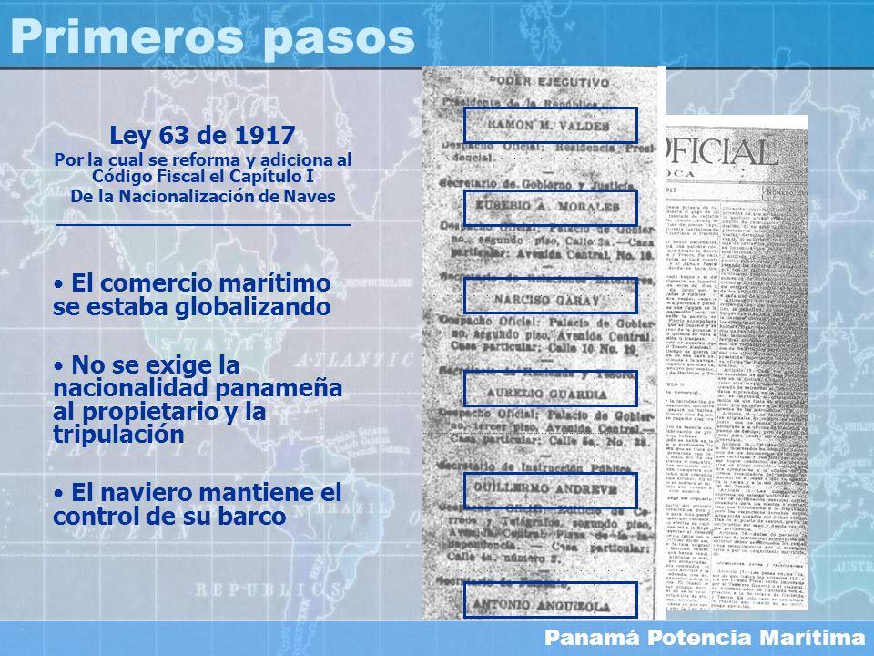 Panamá Potencia Marítima Ley 63 de 1917 Por la cual se reforma y adiciona al Código Fiscal el Capítulo I De la Nacionalización de Naves ______________