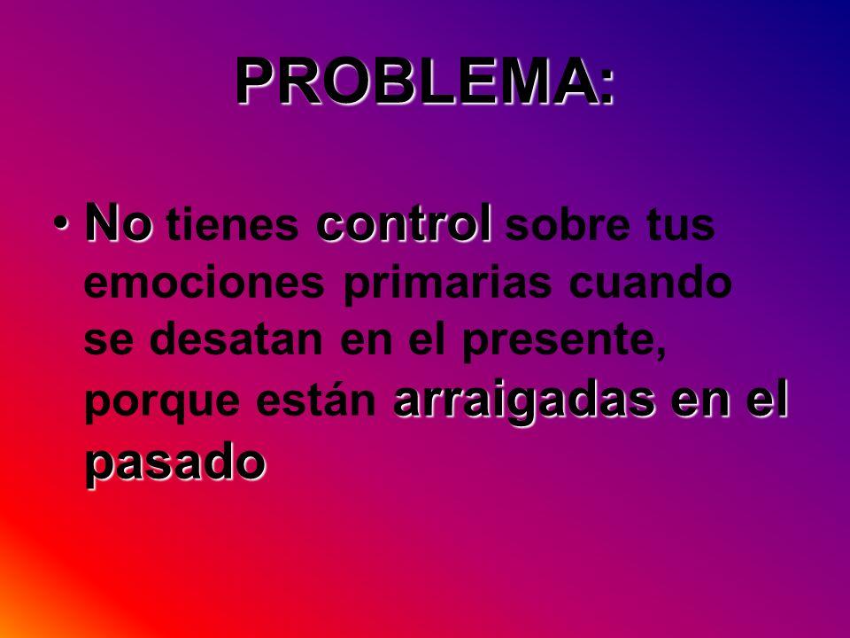 PROBLEMA: Nocontrol arraigadas en el pasadoNo tienes control sobre tus emociones primarias cuando se desatan en el presente, porque están arraigadas e