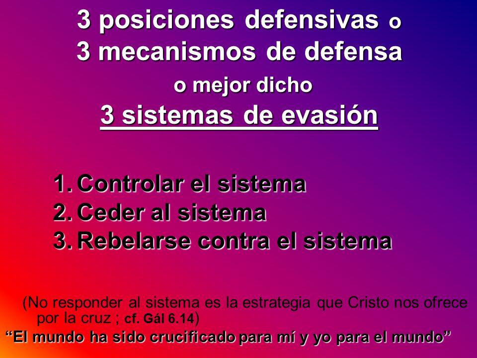 3 posiciones defensivas o 3 mecanismos de defensa o mejor dicho 3 sistemas de evasión 1.Controlar el sistema 2.Ceder al sistema 3.Rebelarse contra el