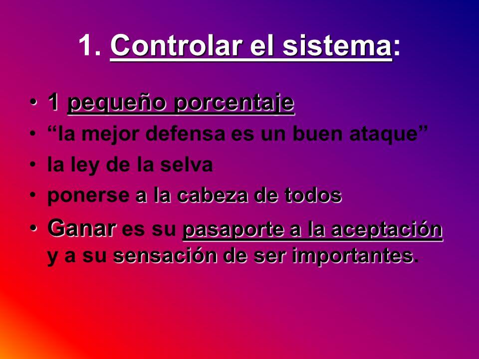Controlar el sistema 1. Controlar el sistema: 1 pequeño porcentaje1 pequeño porcentaje la mejor defensa es un buen ataque la ley de la selva a la cabe