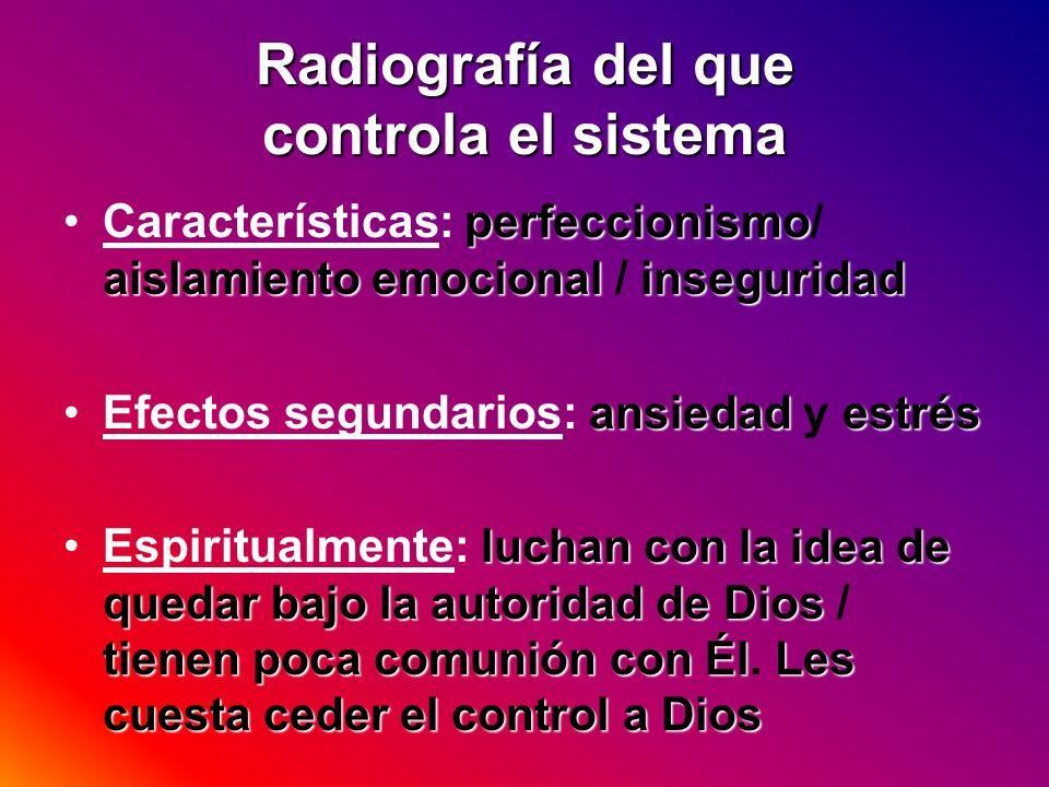 Radiografía del que controla el sistema perfeccionismo aislamiento emocional inseguridadCaracterísticas: perfeccionismo/ aislamiento emocional / inseg