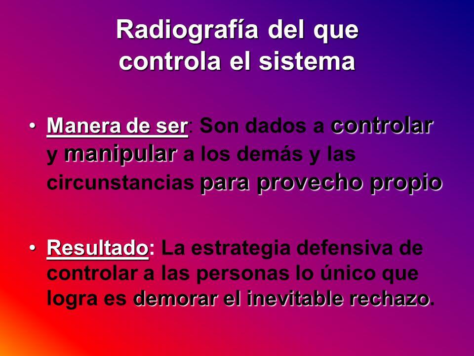 Radiografía del que controla el sistema Manera de ser controlar manipular para provecho propioManera de ser: Son dados a controlar y manipular a los d