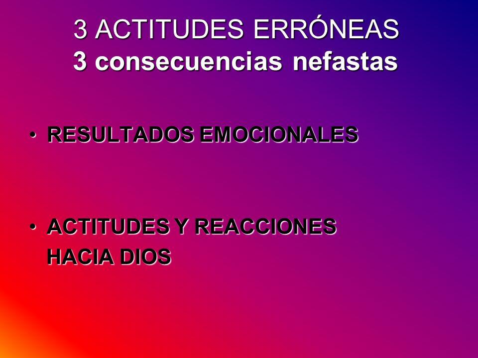 3 ACTITUDES ERRÓNEAS 3 consecuencias nefastas RESULTADOS EMOCIONALESRESULTADOS EMOCIONALES ACTITUDES Y REACCIONESACTITUDES Y REACCIONES HACIA DIOS HAC