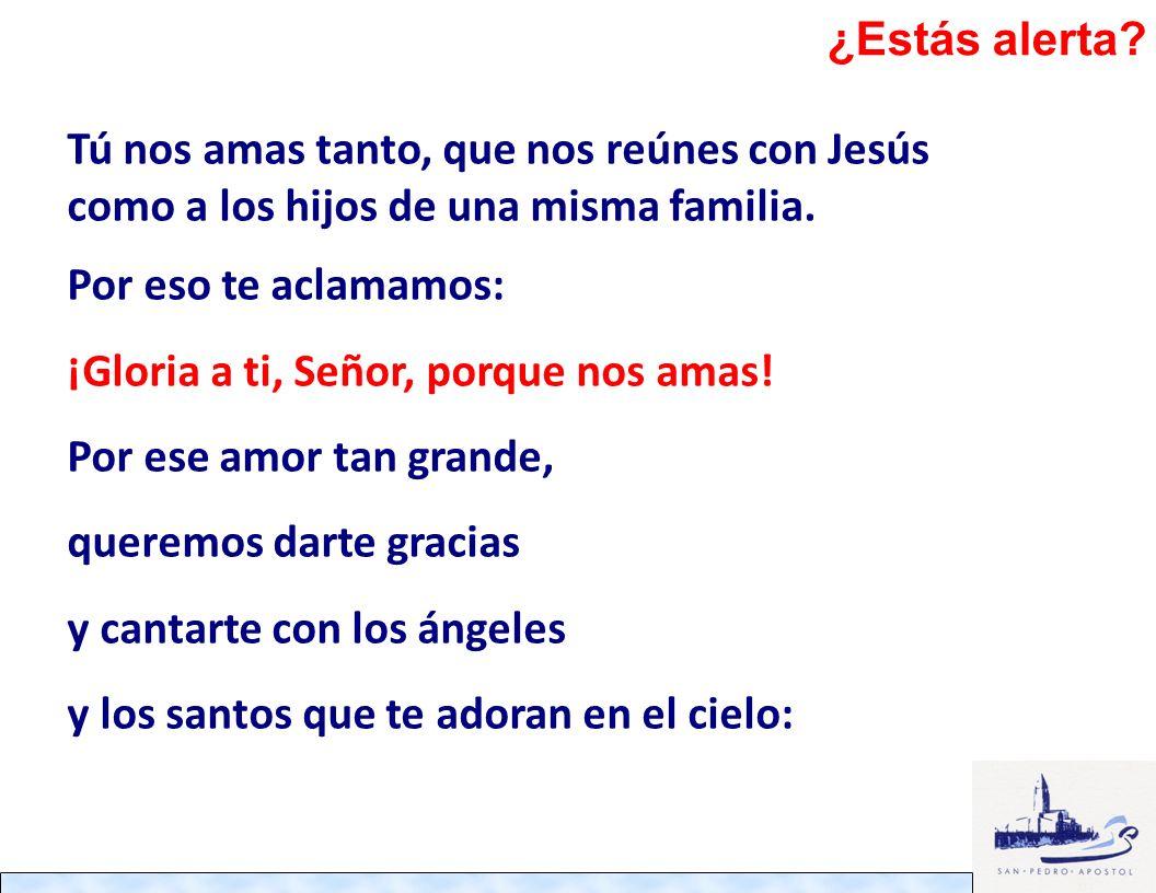Tú nos amas tanto, que nos reúnes con Jesús como a los hijos de una misma familia. Por eso te aclamamos: ¡Gloria a ti, Señor, porque nos amas! Por ese