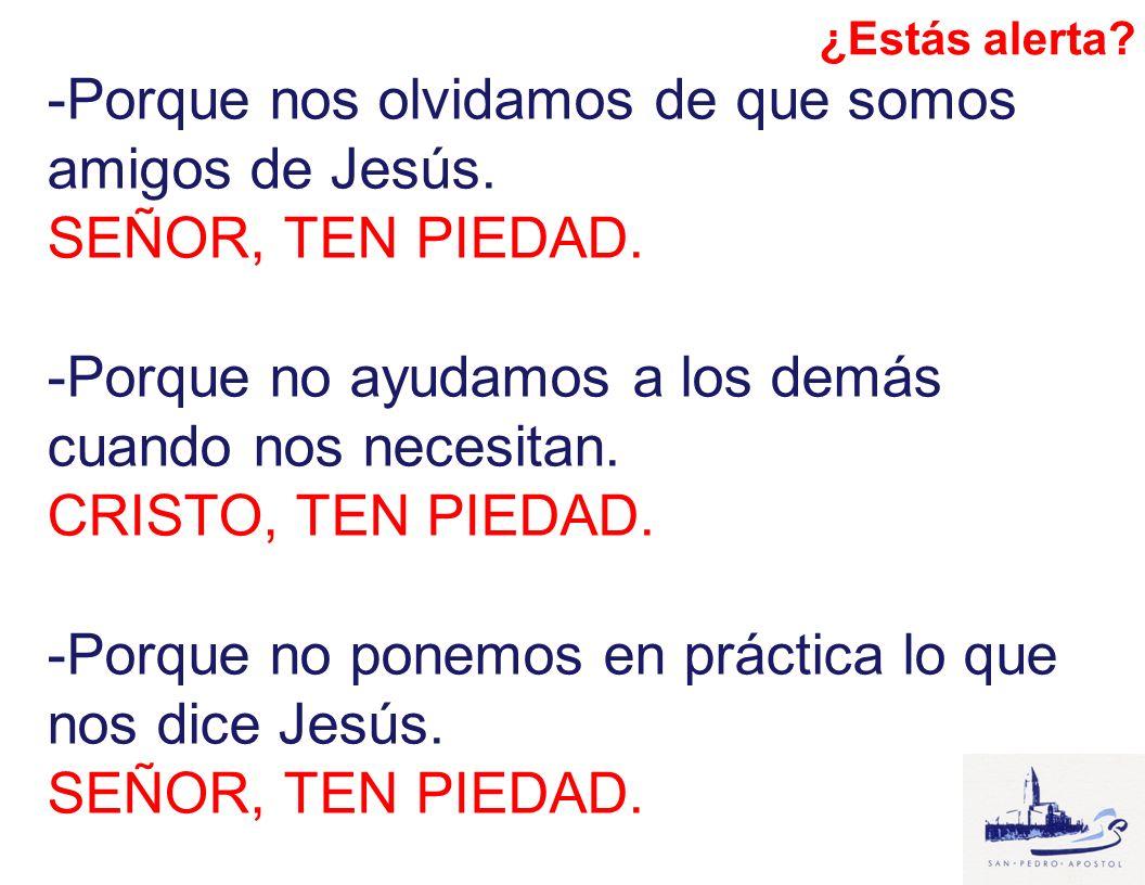 -Porque nos olvidamos de que somos amigos de Jesús. SEÑOR, TEN PIEDAD. -Porque no ayudamos a los demás cuando nos necesitan. CRISTO, TEN PIEDAD. -Porq