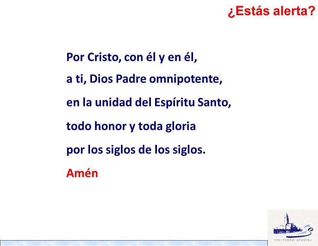 Por Cristo, con él y en él, a ti, Dios Padre omnipotente, en la unidad del Espíritu Santo, todo honor y toda gloria por los siglos de los siglos. Amén