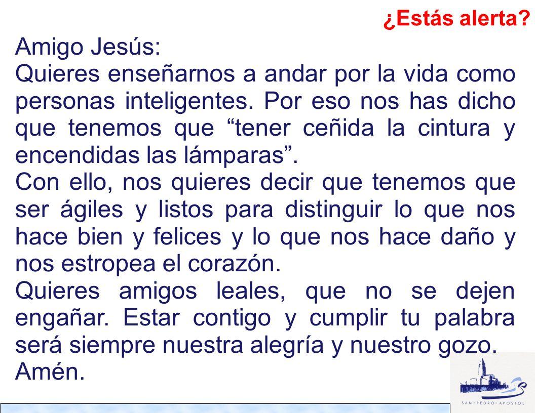 Amigo Jesús: Quieres enseñarnos a andar por la vida como personas inteligentes. Por eso nos has dicho que tenemos que tener ceñida la cintura y encend