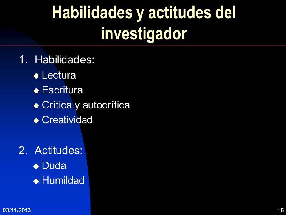Habilidades y actitudes del investigador 1.Habilidades: Lectura Escritura Crítica y autocrítica Creatividad 2.Actitudes: Duda Humildad 03/11/201315