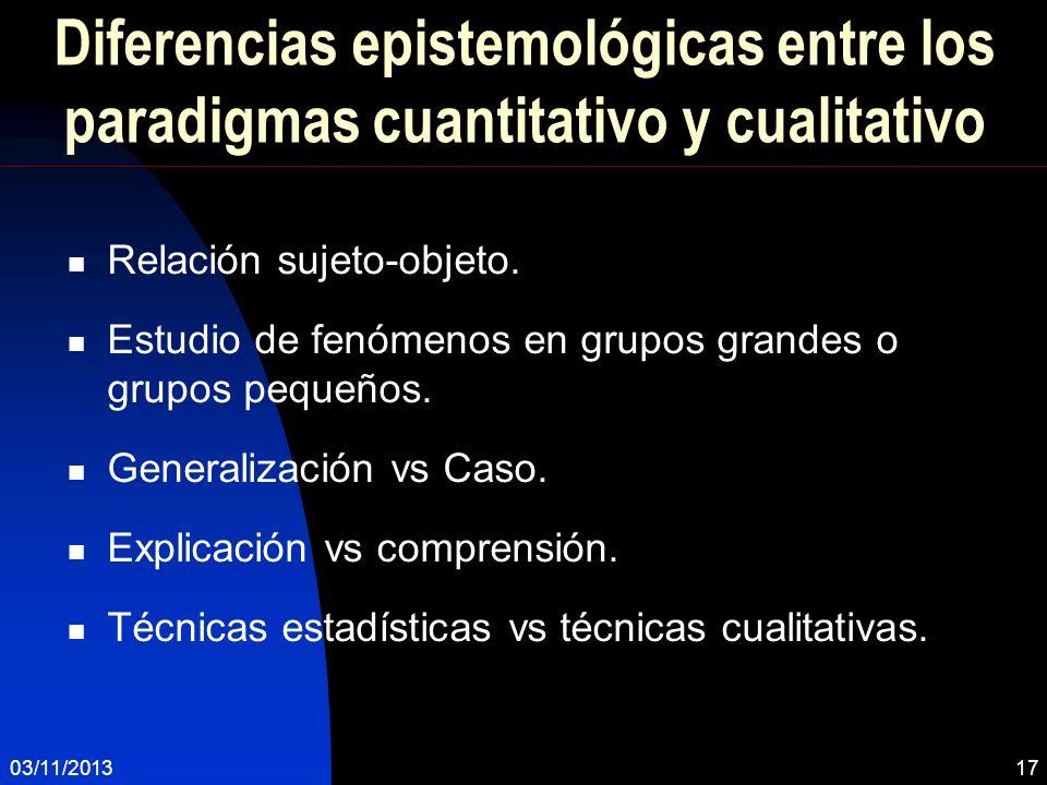 Diferencias epistemológicas entre los paradigmas cuantitativo y cualitativo Relación sujeto-objeto. Estudio de fenómenos en grupos grandes o grupos pe