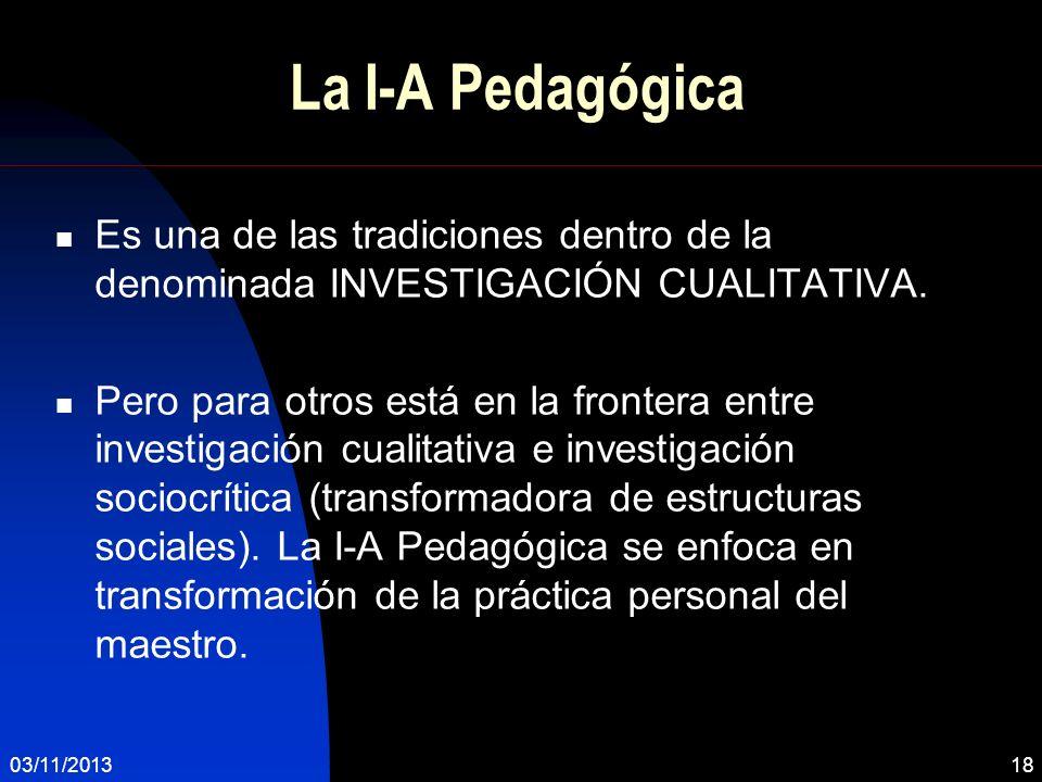 La I-A Pedagógica Es una de las tradiciones dentro de la denominada INVESTIGACIÓN CUALITATIVA. Pero para otros está en la frontera entre investigación