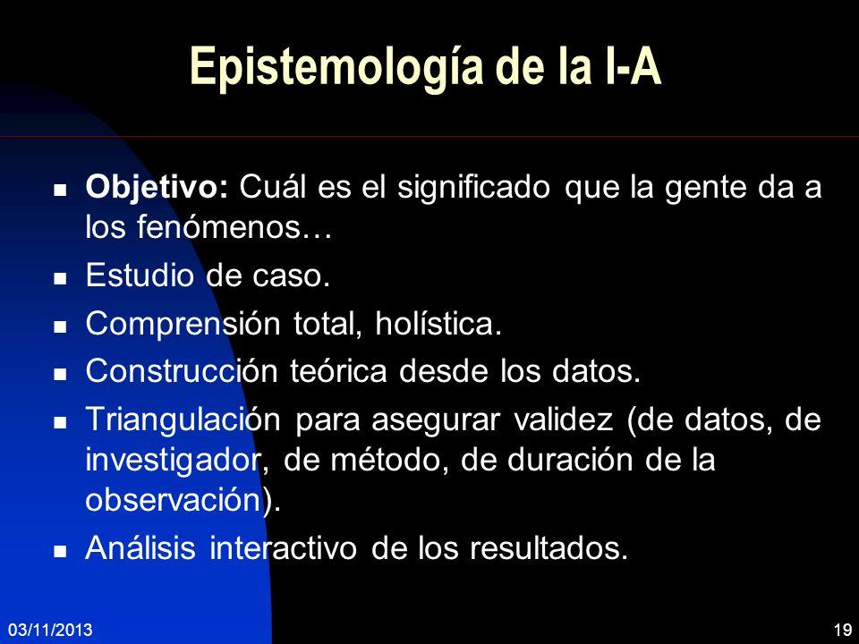 Epistemología de la I-A Objetivo: Cuál es el significado que la gente da a los fenómenos… Estudio de caso. Comprensión total, holística. Construcción