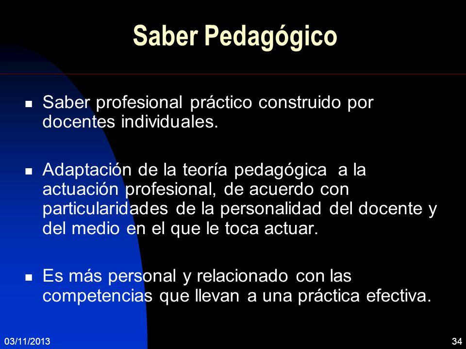 03/11/201334 Saber Pedagógico Saber profesional práctico construido por docentes individuales. Adaptación de la teoría pedagógica a la actuación profe